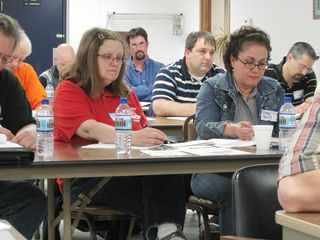 Claire Weddel left and Dora Weddel right take note at the training CWA 4603 (2)