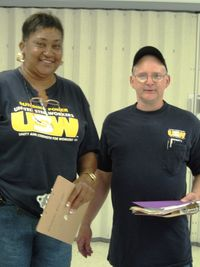 Waukesha walk 8-3-10 David Hinkley USW 3740 and Lorretta tyler USW Service rep