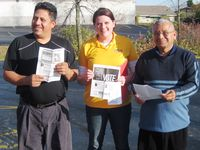 Raymundo Diaz, Katie Moore,and Alfonso Herrera UFCW International Racine GOTV walk 10-30-10 (2)