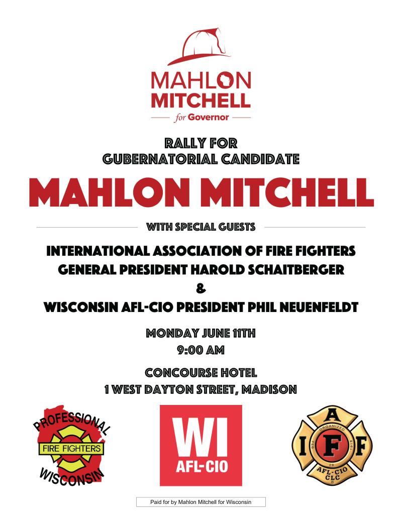 MAHLON MITCHELL JUNE 11 RALLY FLYER
